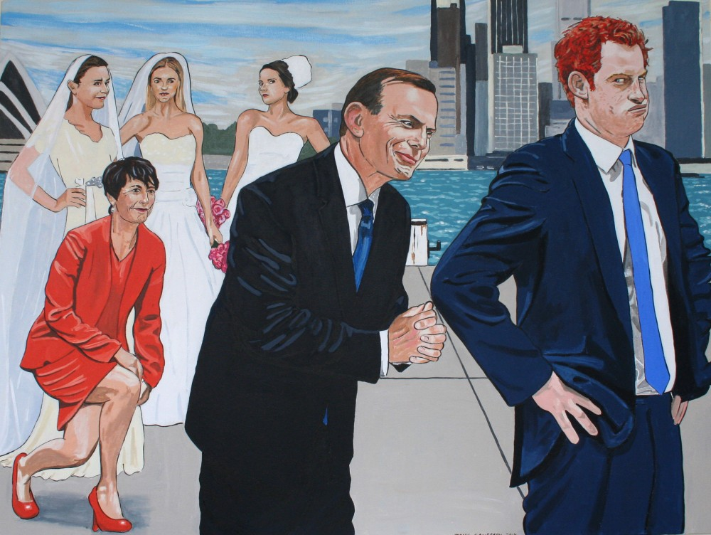 The Minister for Women introducing his family to a passing prince. by Tony Sowersby
